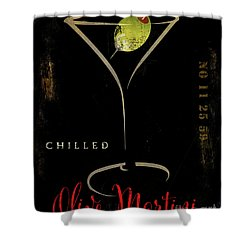 Olive Martini Shower Curtain by Mindy Sommers