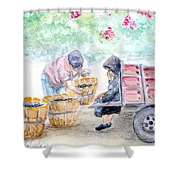 Olive Pickers Shower Curtain