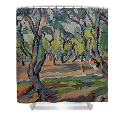 Olive Yard Paxos Greece Shower Curtain