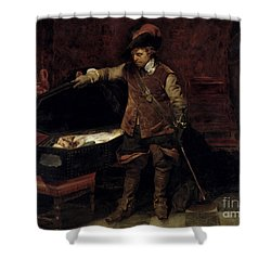 Oliver Cromwell Opening The Coffin Of Charles I  Shower Curtain by Hippolyte Delaroche