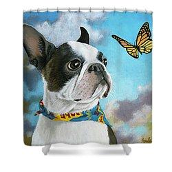 Oliver - Dog Pet Portrait Shower Curtain