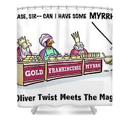Oliver Wants Some Myrrh Shower Curtain