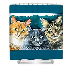 Oliver, Willow And Walter - Cat Painting Shower Curtain
