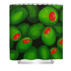 Olives Shower Curtain by Micah  Guenther