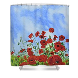 Olivia's Poppies Shower Curtain