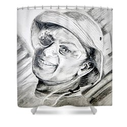 Shower Curtain featuring the drawing Ollie Christmas by Antonia Citrino