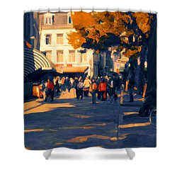Shower Curtain featuring the painting Olv Plein Maastricht In Autumn by Nop Briex