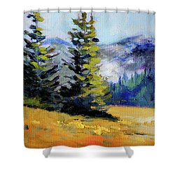 Shower Curtain featuring the painting Olympic Range by Nancy Merkle