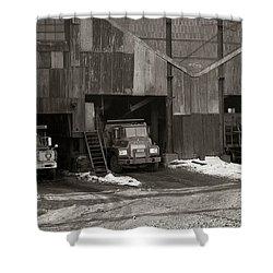 Olyphant Pa Coal Breaker Loading Trucks And Gondola Car Winter 1971 Shower Curtain