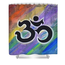 Black Mural Om Shower Curtain