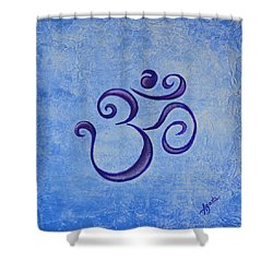 Shower Curtain featuring the painting Om Blue by Agata Lindquist