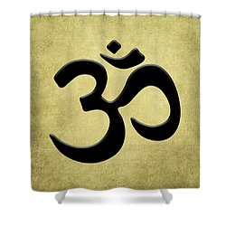 Om Gold Shower Curtain by Kandy Hurley