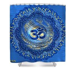 Shower Curtain featuring the digital art Om Mandala by Giada Rossi