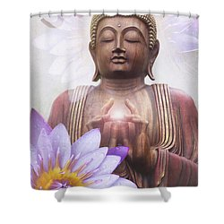Om Mani Padme Hum - Buddha Lotus Shower Curtain