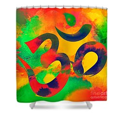 Om Symbol, Green, Yellow And Orange Multicolor Shower Curtain