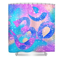 Om Symbol, Light Pink And Blue Pastels, 3d Water Mist Shower Curtain