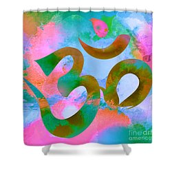 Om Symbol, Pastel Pink,blue And Green Shower Curtain