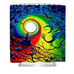 Om Tree Of Life Meditation Shower Curtain by Laura Iverson