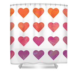 Ombre Hearts Shower Curtain by Whitney Morton