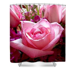 Ombre Pink Rose Bouquet Shower Curtain