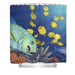Omilu Bluefin Trevally Shower Curtain by Tammy Yee