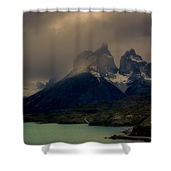 Ominous Peaks Shower Curtain by Andrew Matwijec