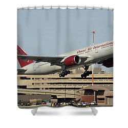 Omni Air International Boeing 777-222 N927ax Phoenix Sky Harbor January 3 2015 Shower Curtain by Brian Lockett
