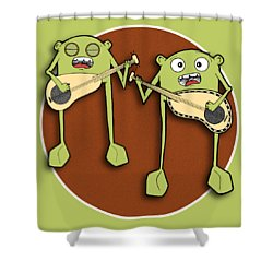 Shower Curtain featuring the drawing Omti And Itmo by Uncle J's Monsters