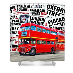 On A Bus For London Shower Curtain by Mark E Tisdale