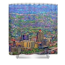 On A Clear Day - A View From Mill Mountain Shower Curtain