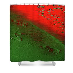 On A New Planet Shower Curtain by Susanne Van Hulst
