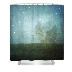 On A Starry Night, A Boy And His Tree Shower Curtain