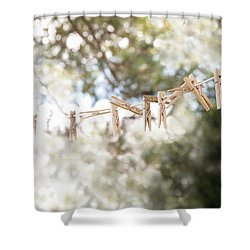 On A Sunday Shower Curtain by Angie Rea