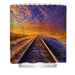 Shower Curtain featuring the photograph On A Train Bound For Nowhere by Phil Koch