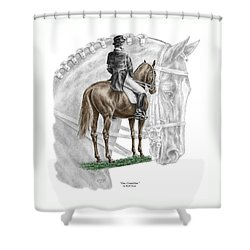 On Centerline - Dressage Horse Print Color Tinted Shower Curtain