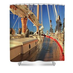 On Deck Of The Schooner Eastwind Shower Curtain by Roupen  Baker
