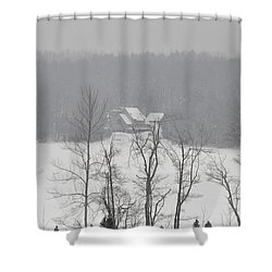 Shower Curtain featuring the photograph On Demond Pond by John Black
