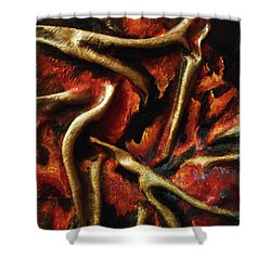 Shower Curtain featuring the mixed media On Fire by Angela Stout