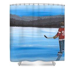 On Frozen Pond - Gordie Shower Curtain by Ron Genest