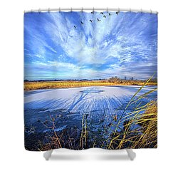 Shower Curtain featuring the photograph On Frozen Pond by Phil Koch