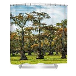 On Green Bayou Shower Curtain