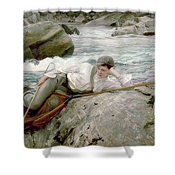 On His Holidays Shower Curtain by John Singer Sargent