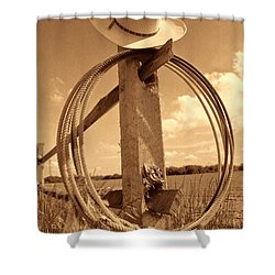 On The American Ranch Shower Curtain by American West Legend By Olivier Le Queinec
