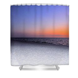 On The Beach At Sunset Shower Curtain