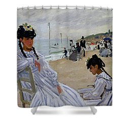 On The Beach At Trouville Shower Curtain by Claude Monet