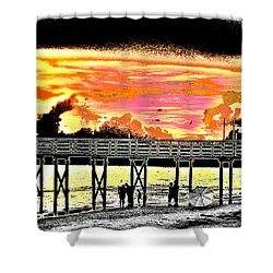 On The Beach Shower Curtain by Bill Cannon
