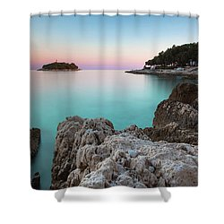 Shower Curtain featuring the photograph On The Beach In Dawn by Davor Zerjav