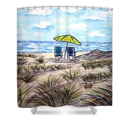 Shower Curtain featuring the painting On The Beach by Kathy Marrs Chandler