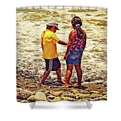 Shower Curtain featuring the photograph On The Beach - Lima by Mary Machare