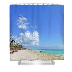 Shower Curtain featuring the digital art On The Beach M1 by Francesca Mackenney